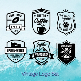 Retro Typography Badges & Logos Pack