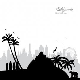 California Skyline Travel Vector