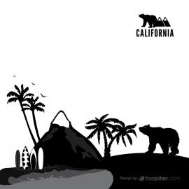 California Nature & Mountain with Bear Vector