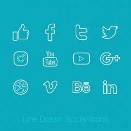 Social Media Line Drawn Icons