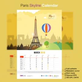 Paris Skyline Travel Calendar