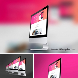 iMac Responsive Desktop Device Screen Curve Mockup