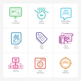 SEO Line Icons v4 Vector Icons