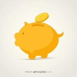 Piggy Bank & Financial Icon with Coin
