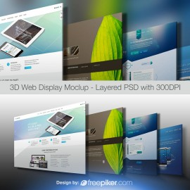 3D Web Display Layered PSD Mockup