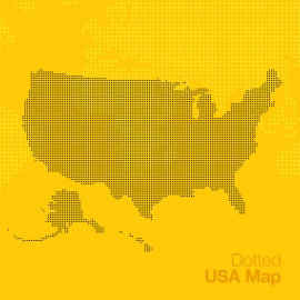 Square Dotted USA Map Vector United States Map