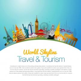World Skyline Travel & Tourism Vector