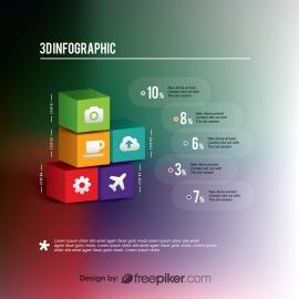 3D Cubes Infographic