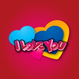 I Love You 3D with Heart Symbol