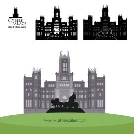 Cybele Palace Plaza de Cibeles Madrid Travel Heritage Vector