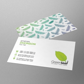 Water Color Green Leaf Business Card