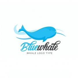 Blue Whale Ocean Fish Logo