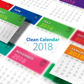 Colorful Flat Calendar 2018
