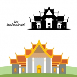 Wat Benchamabophit Temple of Marble Bangkok Vector
