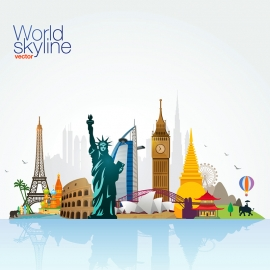 World Skyline Travel & Tourism Vector