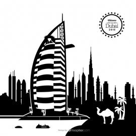Dubai Skyline Cityscape Vector