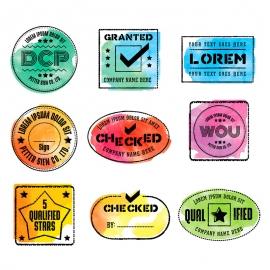 Watercolor Vector Rubber Stamps & Retro Seal