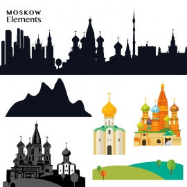 Moscow Elements Skyline & Red Square
