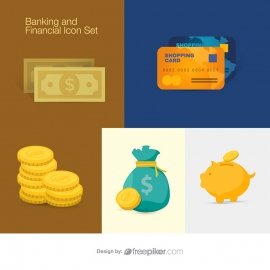 Invest Banking & Finance Elements with Bank Dollar Money Icon Set