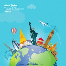 World Travel & Tourism Skyline Vector