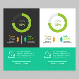 Responsive Pie Chart Infographic UI & UX with Male & Female