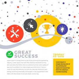 Success Trophy Infographic with Icons