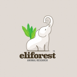 Forest White Elephant Animal Logo