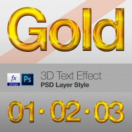 3D Text Effect PSD Layer Style