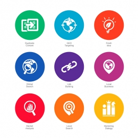 SEO Icons in Colorful Circle v2 Vector Icons