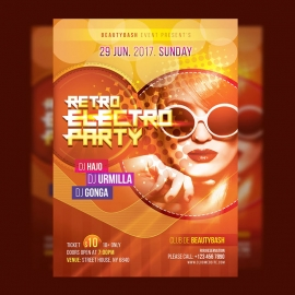 Retro Electro Party Flyer