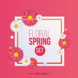 Spring Floral Set Design Elements