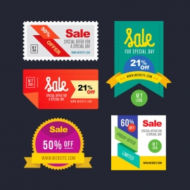 Discount Retro Banner Pack Offer & Discount Web Banner Badges