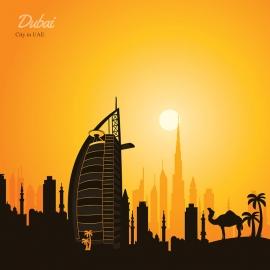 Dubai Skyline Travel Vector