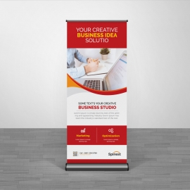 Corporate Red Color Business Rollup Banner