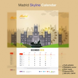 Madrid Skyline Travel Calendar