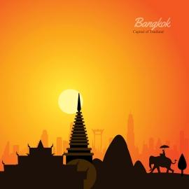 Bangkok Skyline Travel Vector
