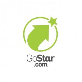 GoStar Up Symbol Arrow & Star Logo