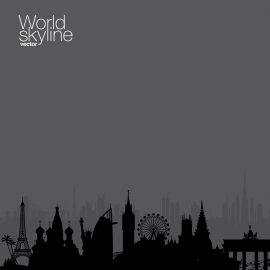 World Skyline Cityscape Travel & Tourism Vector