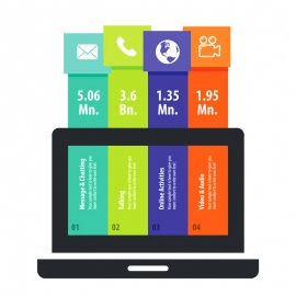 Colorful Laptop & Multimedia Infographic