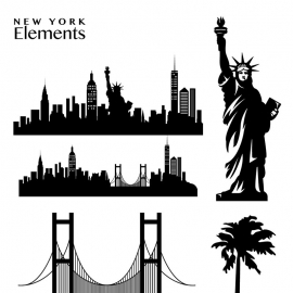 New York Elements Skyline & Statue of Liberty Vector
