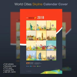 World Travel Skyline Calendar Cover
