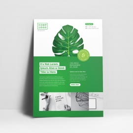Multipurpose Minimal Green Flyer with Retro Leaf