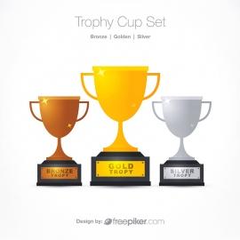 Trophy Cup Golden Silver Bronze Award Set