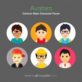 Avatars Cartoon Style Charater Faces