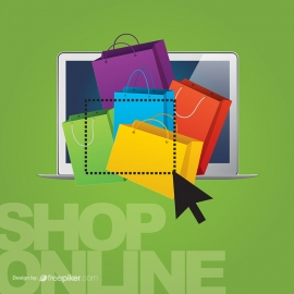 Shopping Online Conceptual Graphics