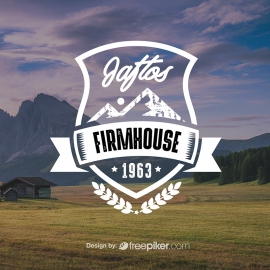 Retro Farm House Badge Logo