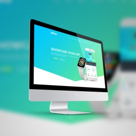Responsive Desktop Device Screen Mockup Curve Style
