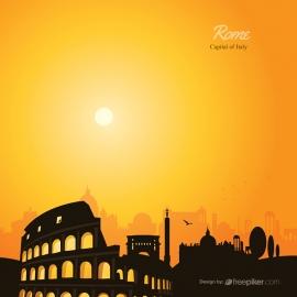 Rome Skyline Travel Vector