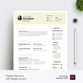 Topbar Resume & Cover Letter Layout with Beige  Accent