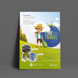 Tour & Travel Flyer With Green Accent